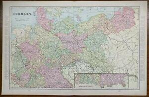 """Vintage 1903 GERMANY Map 22""""x14"""" ~ Old Antique Original BERLIN FRANKFURT MUNSTER"""