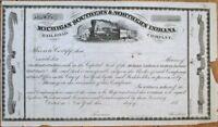 Michigan Southern & Northern Indiana Rail Road 1850 Railroad Stock Certificate