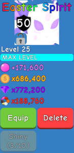 Bubble Gum Simulator - Easter Spirit - Maxed - Secret Pet - 1 in 1M