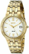 New Seiko SNE030 (V157-0AA0) Solar Gold Stainless Steel White Dial Watch