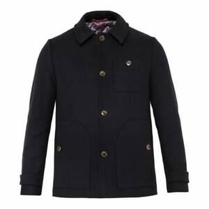 Ted Baker Men's Osmond Patch Pocket Collared Overcoat Dark Navy Size 3 RRP £329