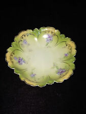 Antique Rs Germany Porcelain Floral Wavy Bowl Dish Boudoir Green Purple Stunning