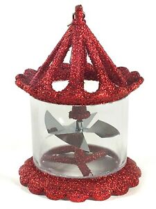 Bird Cage Twirling Spinner Red Glitter Christmas Ornament