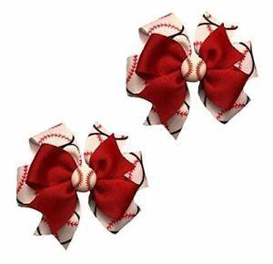 Baseball Toddler Hair Bow Set (Red or Black)