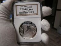 2008 France - Japan 125th Anniversary Silver 1.5 Euro Ichikawa Ebizo NGC PF69