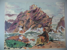 Vintage Original Art Watercolor Andre Delfau Abstract MCM Male Figure Seascape!1