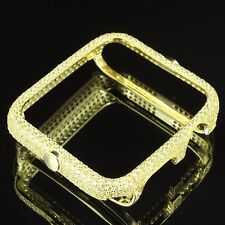 Custom Apple Watch 14K Gold Plated Yellow Lab Diamond 38mm Series 2 Bezel S925
