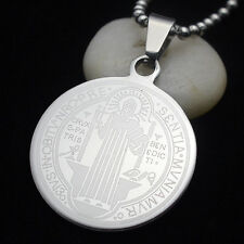 Stainless Steel Patron Saint St.Benedict Holy Medal Pendant Necklace S 50CM