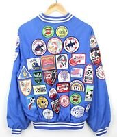 Hartwell Vintage 80/90s Mens Varsity Custom Patches Blue Bomber Jacket - Size L