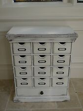 Wash white Vintage Cabinet multi drawer chest pigeon hole drawers vintage chest