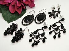 Nice! 4 Pairs Silvertone Black Glass Beads & Rhinestone Pierced Dangle Earrings!