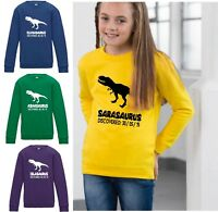 Kids Personalised Dinosaur Sweatshirt Jumper Sweater Jurassic Boys Girls Child