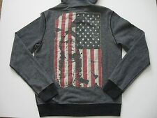 DENIM & SUPPLY RALPH LAUREN Men's Zip-Front Distressed Flag Patch Hoodie M