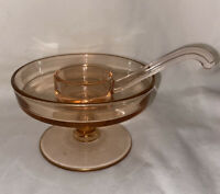 Vintage Pink Depression Glass Sauce Mayo Bowl with Ladle Dipper Heisey?