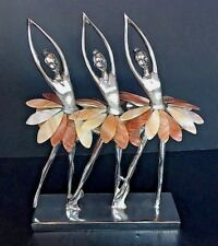 """Art Deco Three Ballet Dancers on Pointe-Stunning Metal and Shell Sculpture 10"""""""