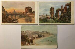 3 x Antique Postcards - Thomas Cook - Rome Tours & Tours in Palestine