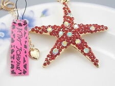 Betsey Johnson Fashion Jewelry Cute Red Crystal starfish Pendant Necklace #A162