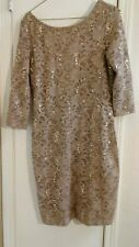 Sexy Sz 8 Dress Lace Beige  After Five Long Sleeve