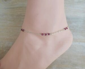 Ruby Corundum Gemstone Wire Wrapped and Sterling Silver Chain Minimalist Anklet