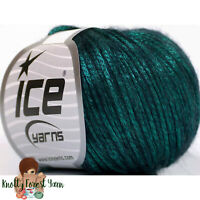 Rock Star Ice Yarn EMERALD Merino Wool Acrylic Worsted #4 Weight 196y Metallic