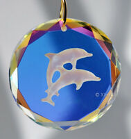 Faceted Etched Dolphin 35mm AB Crystal Prism SunCatcher Disk Pendant 1-3/8""