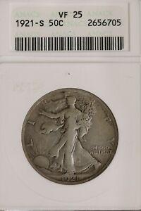 1921-S Walking Liberty Half Dollar ANACS VF 25 Rare Key Date Coin b110