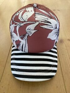 ROXY Pink Floral / Black & White Striped Truckers Cap