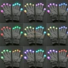 NEW LED Rave Flashing Gloves Glow 7 Mode Light Up Finger Lighting Mitt White