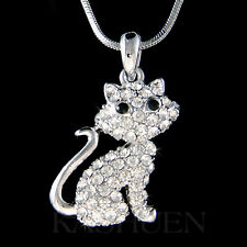 ~Kitty Cat~ made with Swarovski Crystal Kitten Animal pet Charm Necklace Jewelry
