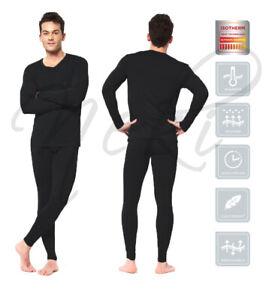 Mens Thermal Long Johns Top Bottom Underwear Black Full Sleeve Set Base Layer