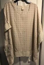 Faded Glory beige and white geometric print poncho blouse Size 1X flutter sleeve