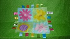 Taggies Green Lovey Minky Tags Ribbons Floral Flowers Security Blanket Baby
