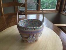 Longaberger 2000 Jelly Beans White Washed Easter Basket with liner & protector