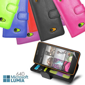 Wallet Flip ID Card Stand Case Cover for Microsoft Nokia Lumia 640 + Screen Gud