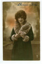 c 1920 French Fashion WINTER COAT BEAUTY tinted photo postcard