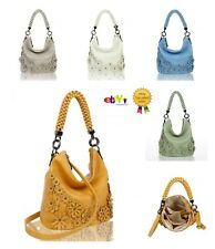 New Women's Ladies 3 D Flower Pattern Slouch Style Hand Bag With Stylish Handle