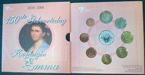 Themaset 150ste geboortedag koningin Emma 1858 - 2008 met zilveren penning .925