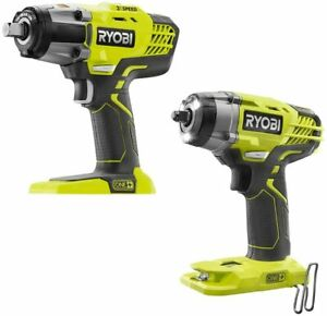 """Ryobi One+ 18 Volt Cordless 3-Speed 1/2""""  & 3/8"""" Impact Wrench Combo (Tool Only)"""