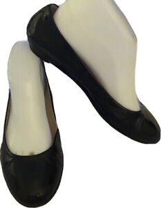 TARYN ROSE-Size 8M/38-Black Patent Leather-Leather Lined Ballet Flats-Italy