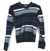 De Rotchild Women's Small Vintage Long Sleeve V-Neck Striped Sweater