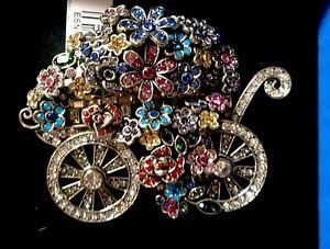 HEIDI DAUS Petal Pusher Flower Cart Pin Alice Looking Glass NWT Retail $200