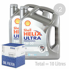 Engine Oil and Filter Service Kit 10 LITRES Shell Helix Ultra Pro AG 5w-30 10L