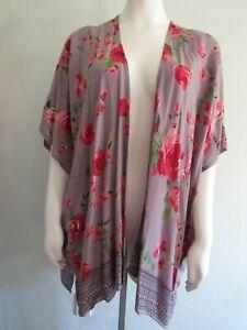 ANGIE Size S Small Boho Kimono Duster Open Front 100% Rayon Oversized NWT