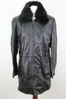 MARKS & SPENCER Black Leather Jacket size Uk 16