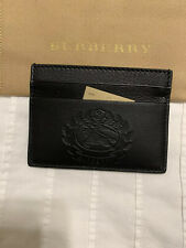 New Auth Burberry Men Unisex Leather Big Knight Logo CC Holder Wallet $250