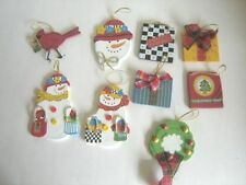 Wooden Christmas Tree Ornament Lot of 9 Holiday Ornaments Snowmen Gifts Redbird