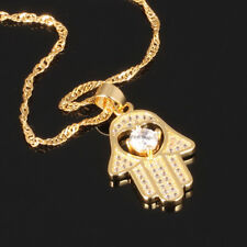 Fatima Hand Hamsa Moissanite Yellow Gold GP Good Luck Pendant Necklace Gift