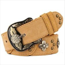 2017 Top quality Womens Ladies Belt Genuine Leather Vintage Flower Pin Buckle