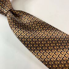 Stefano Baggio Mens Necktie Silver Yellow Black Geometric 100% Silk 3 7/8 x 61