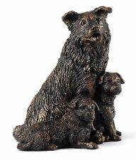 Langholm Design Collie  & Pups Bronzed Figurine NEW in Gift box - 27288